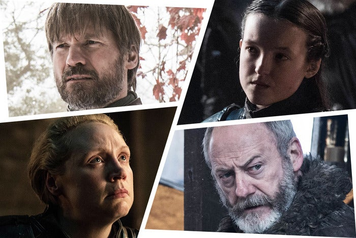 A Game of Thrones character collage.