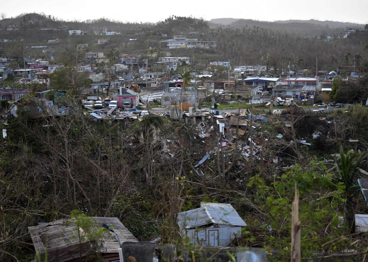 Houses destroyed by Hurricane Maria are seen in the neigborhood of Acerolas in Toa Alto, Puerto Rico, on September 26, 2017.