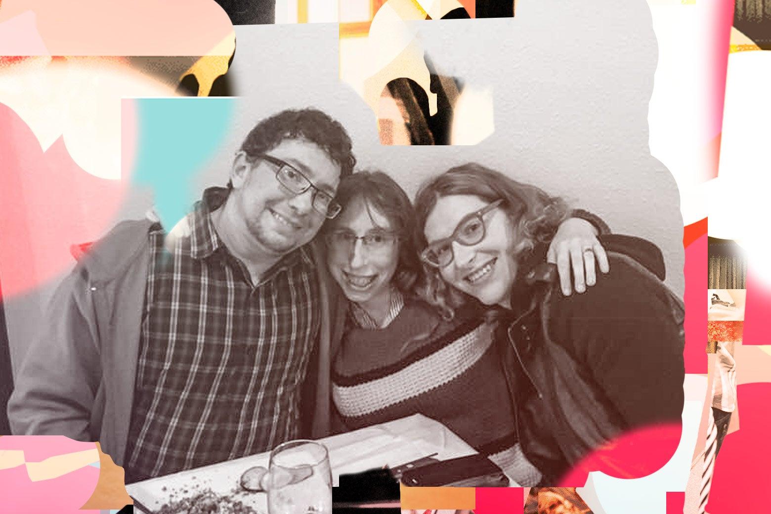 Evan, Cassie, and Mandy celebrate a birthday.