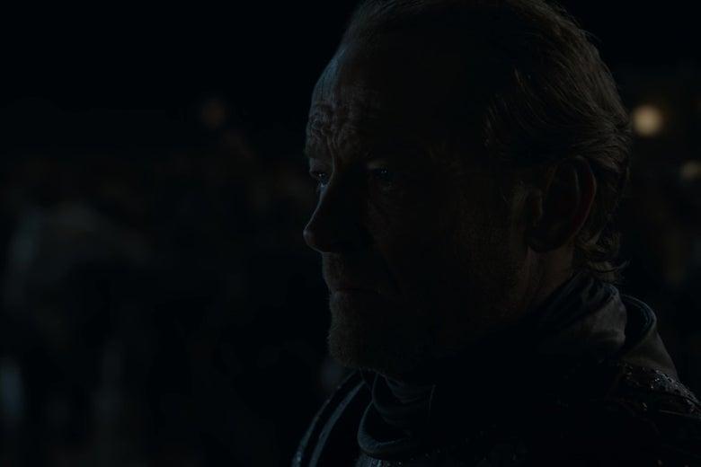 Iain Glen, as Jorah Mormont on Game of Thrones, gazes toward the horizon in a shot that recalls Alexander Nevsky.