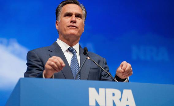 Republican presidential candidate and former Massachusetts Governor Mitt Romney speaks during the NRA's Celebration of American Values Leadership Forum at the NRA Annual Meetings and Exhibits April 13, 2012