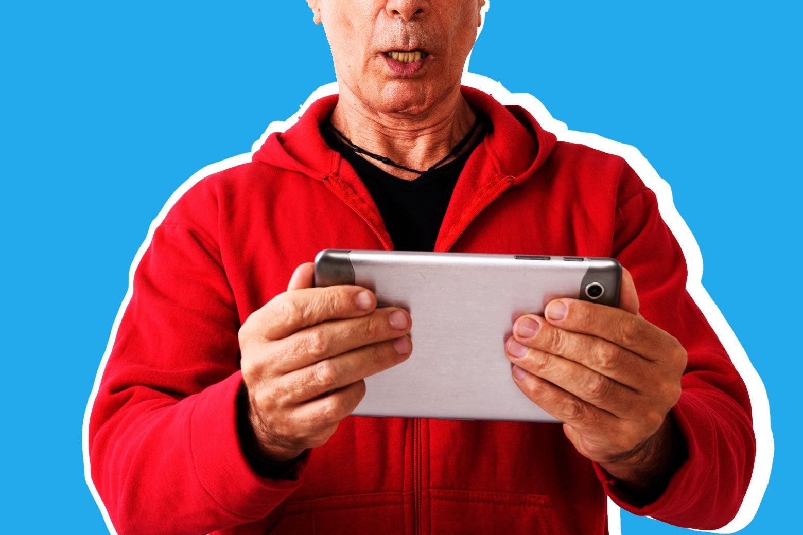 Photo illustration: A man holds a tablet.