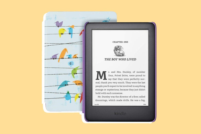 A Kindle Kids Edition, showing a page from Harry Potter.