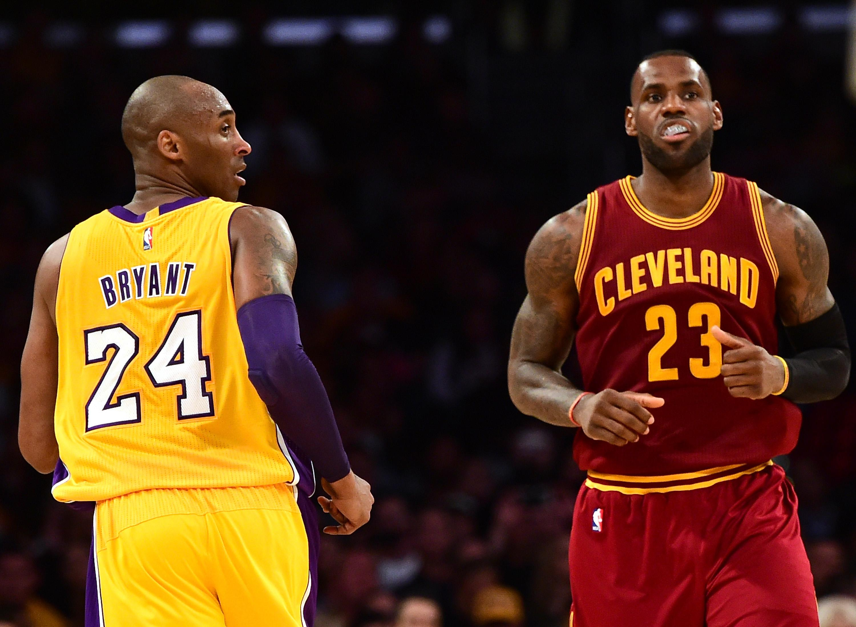 LeBron James of the Cleveland Cavaliers and Kobe Bryant #24 of the Los Angeles Lakers match up.