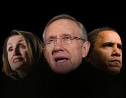 Nancy Pelosi, Harry Reid, and Barack Obama.