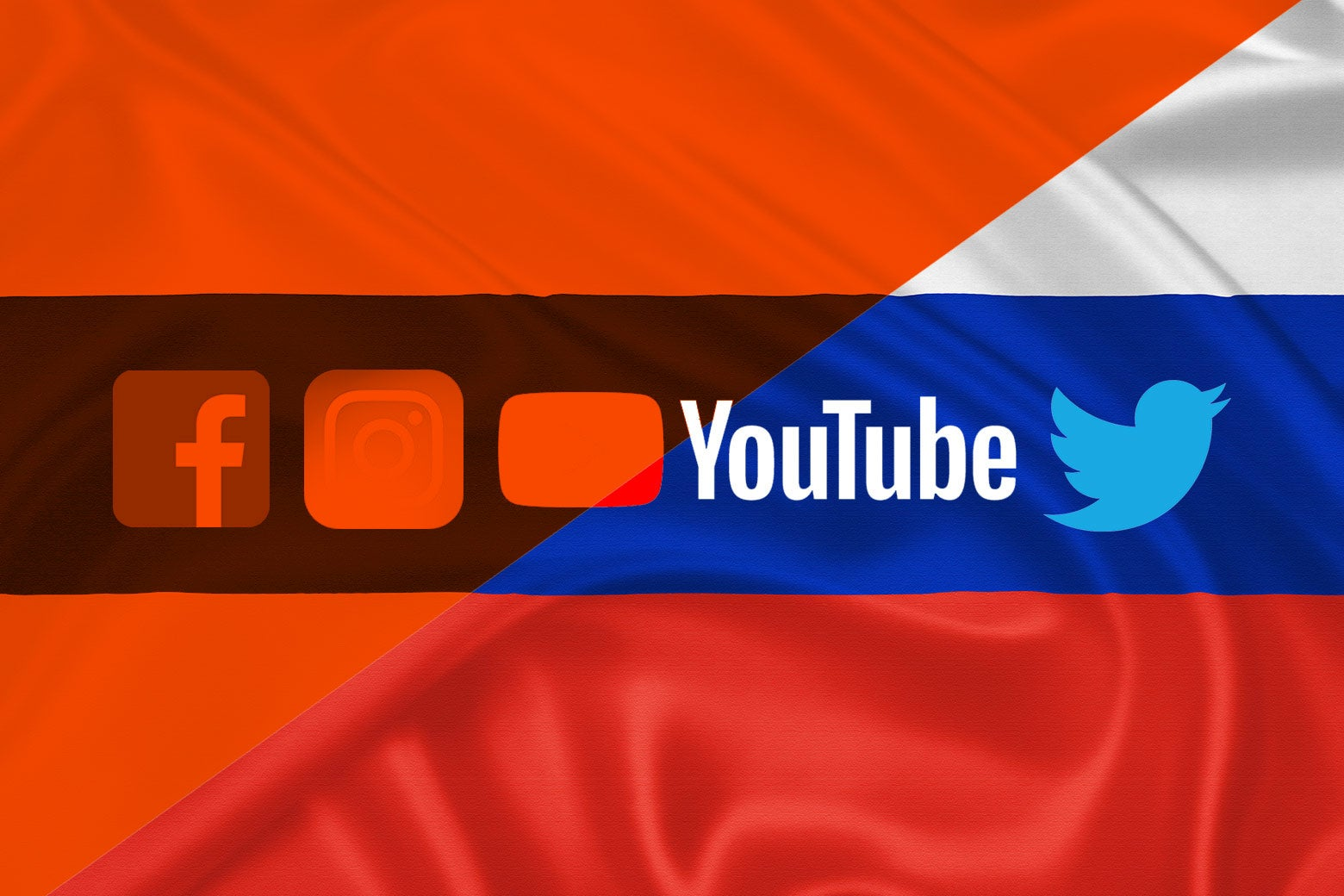 Social media logos over a Russian flag with the colors of the If Then logo overlapping.