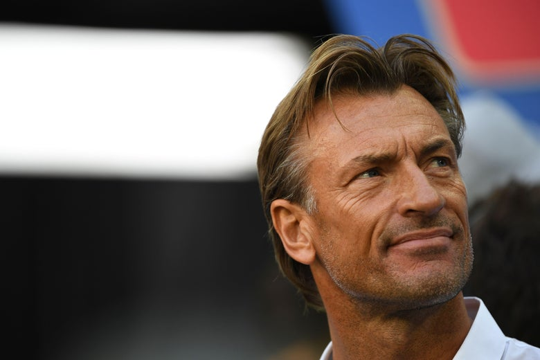 Morocco's coach Herve Renard attends the Russia 2018 World Cup Group B football match between Morocco and Iran at the Saint Petersburg Stadium in Saint Petersburg on June 15, 2018. (Photo by Paul ELLIS / AFP) / RESTRICTED TO EDITORIAL USE - NO MOBILE PUSH ALERTS/DOWNLOADS        (Photo credit should read PAUL ELLIS/AFP/Getty Images)