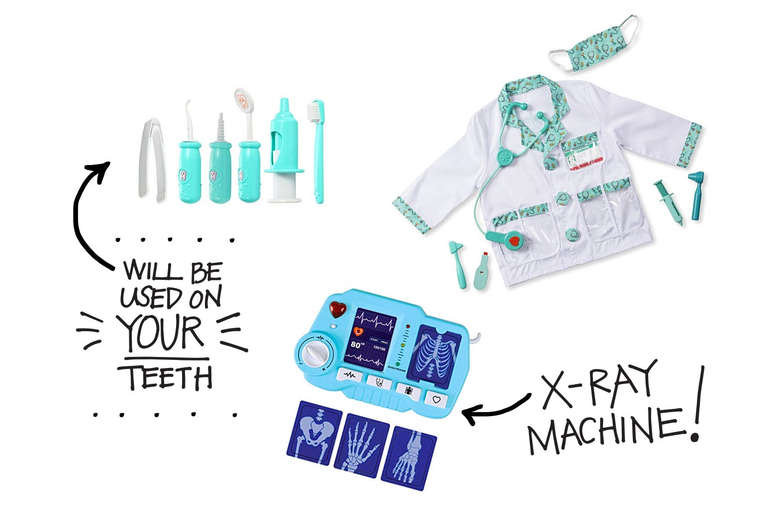 Parts from kids' toy doctor kits, including dentist tools, an X-ray machine, and a doctor's coat