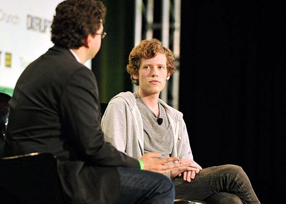 Erick Schonfeld (L) and Christopher Poole (R) speak at TechCrunch Disrupt New York May 2011 at Pier 94 on May 25, 2011 in New York City.