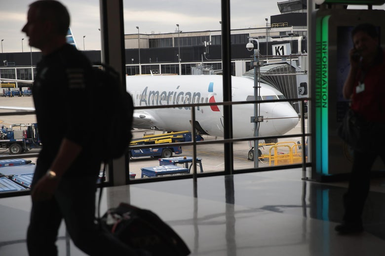 CHICAGO, IL - MAY 11:  An American Airlines aricraft sits at a gate at O'Hare International Airport on May 11, 2018 in Chicago, Illinois. Today American Airlines held a ceremony to mark the opening of five new gate at the airport.  (Photo by Scott Olson/Getty Images)