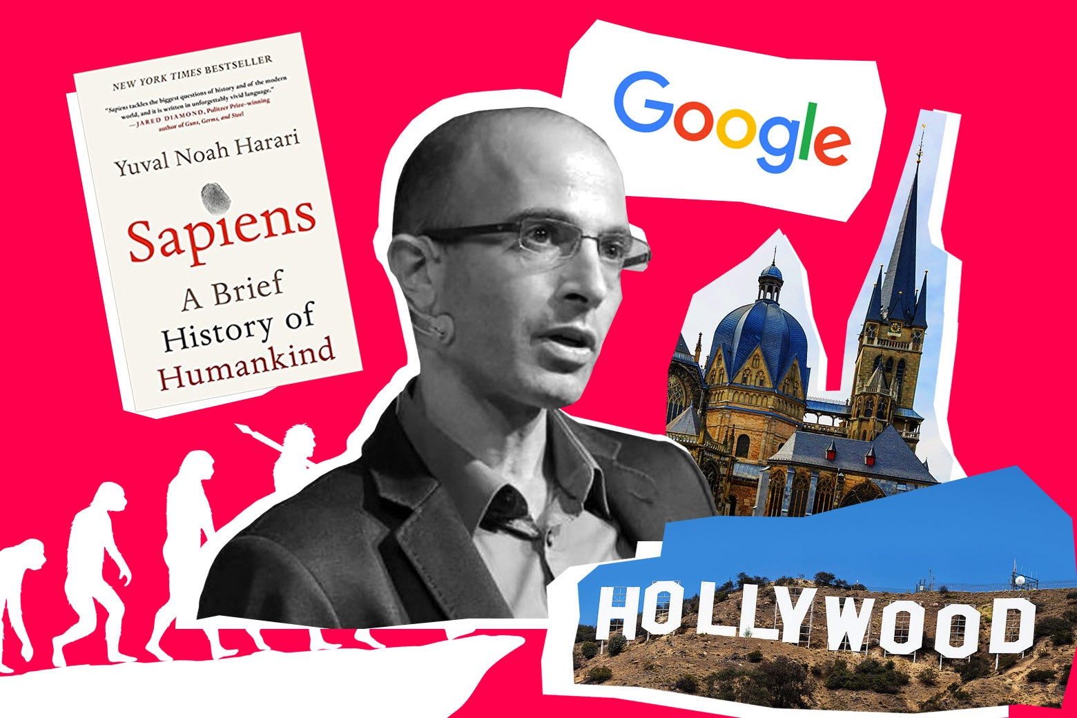 Yuval Noah Harari surrounded by a copy of his book Sapiens, the Google logo, the Hollywood sign, a cathedral, and the evolution of man drawing.