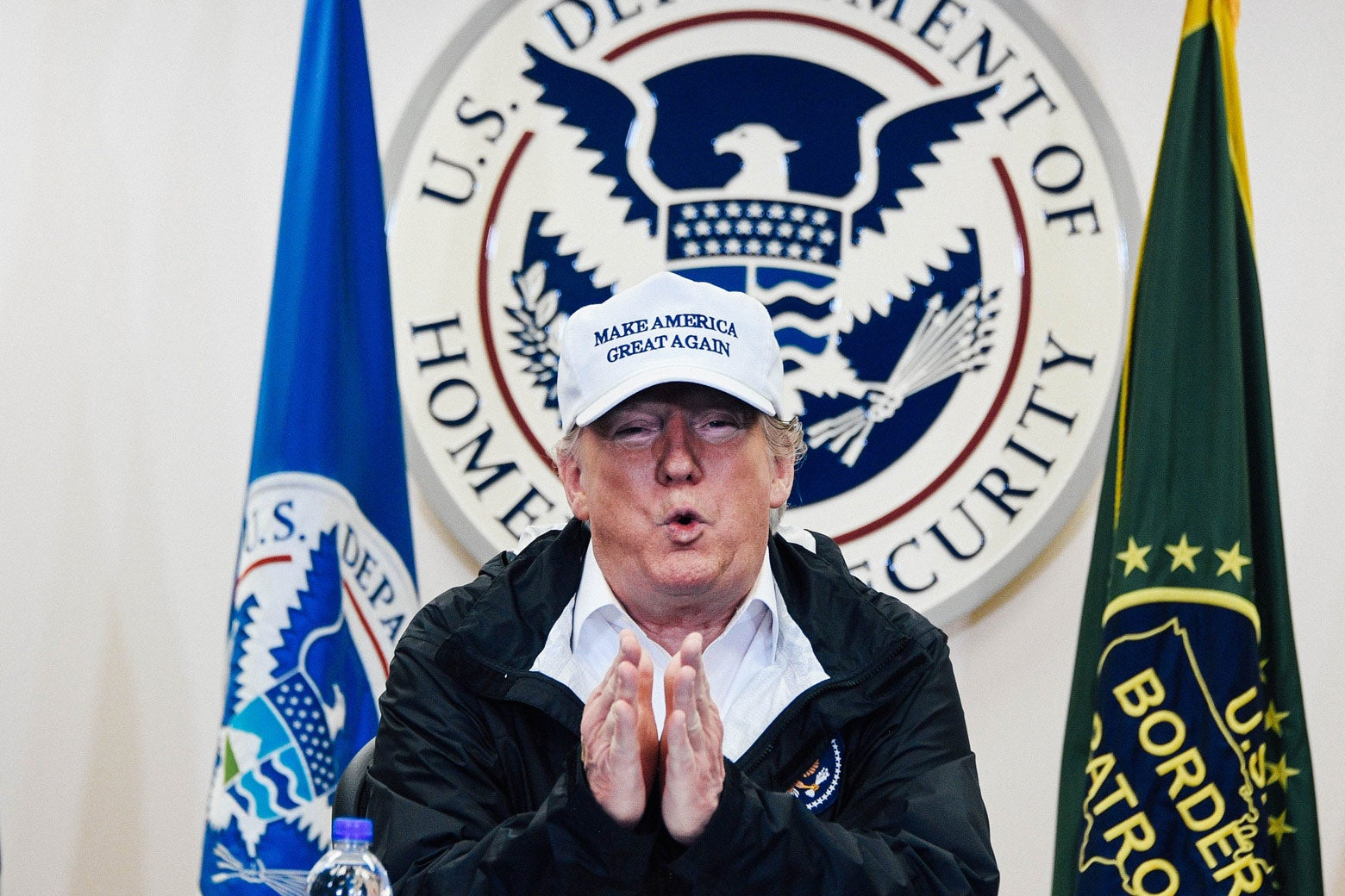 President Donald Trump speaks during his visit to McAllen Station in Texas on Thursday.