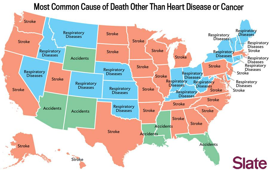 Death map: The most common causes of death in each state of the union