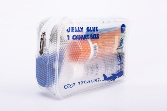 Clear toiletry bag.