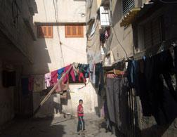 Laundry hanging in the Shati refugee camp. Click image to expand.