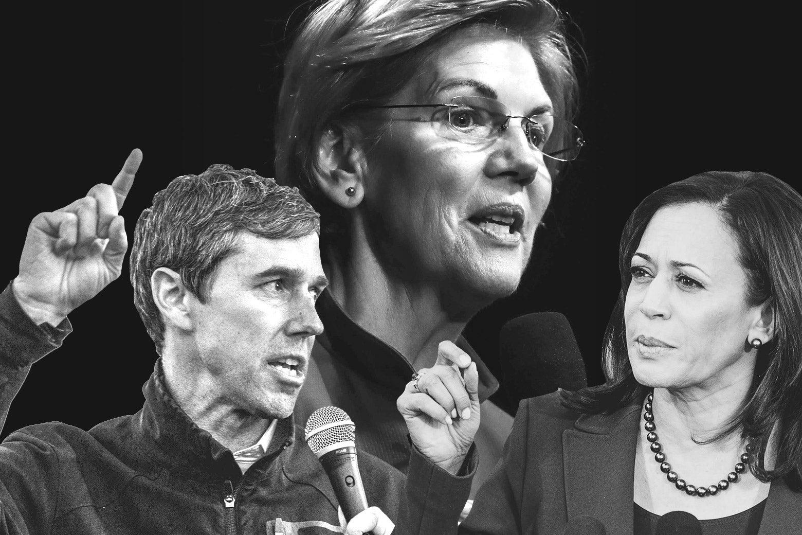 Beto O'Rourke, Elizabeth Warren, Kamala Harris