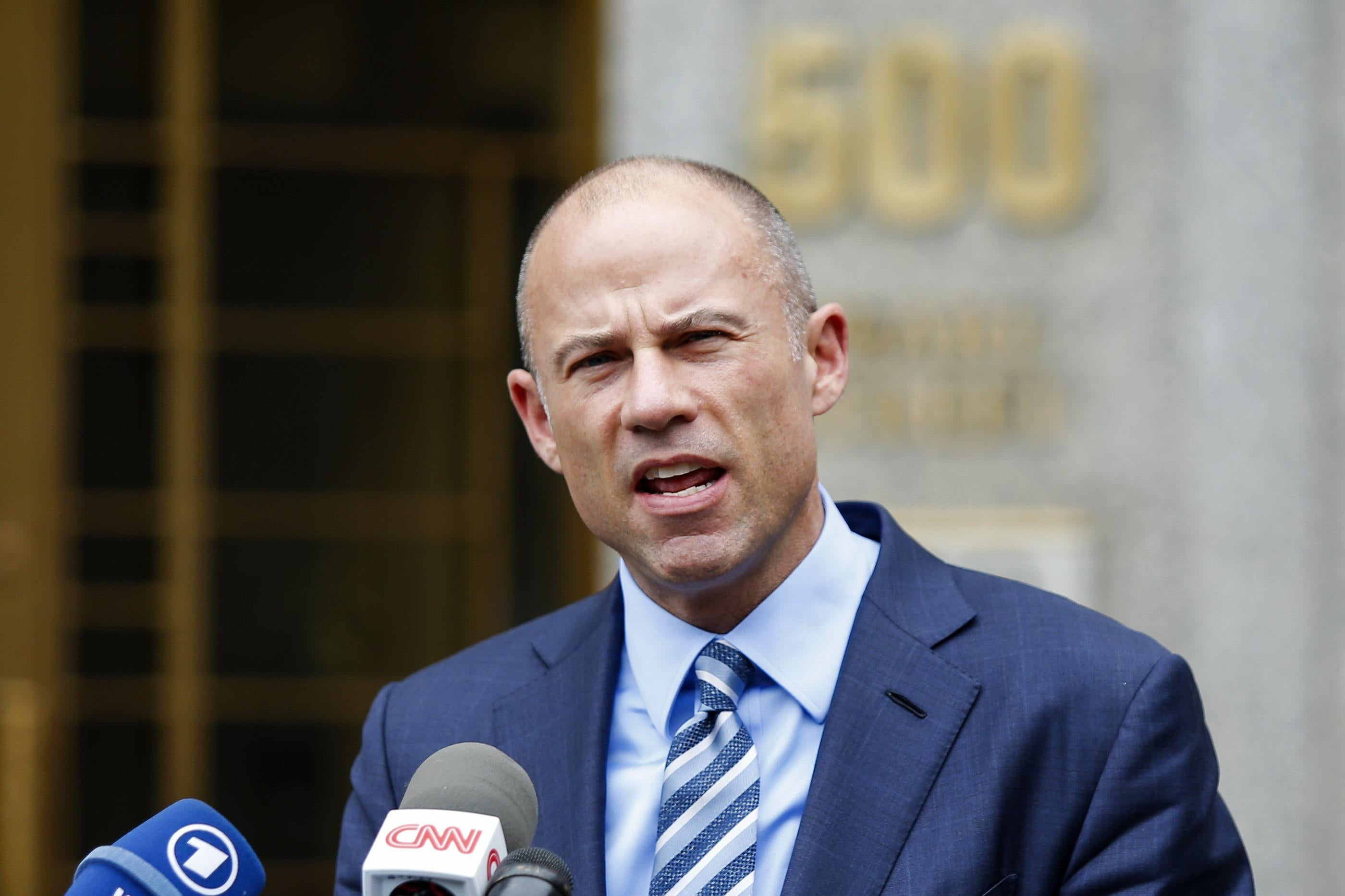 Michael Avenatti speaks to media as he exits a federal courthouse in New York City.