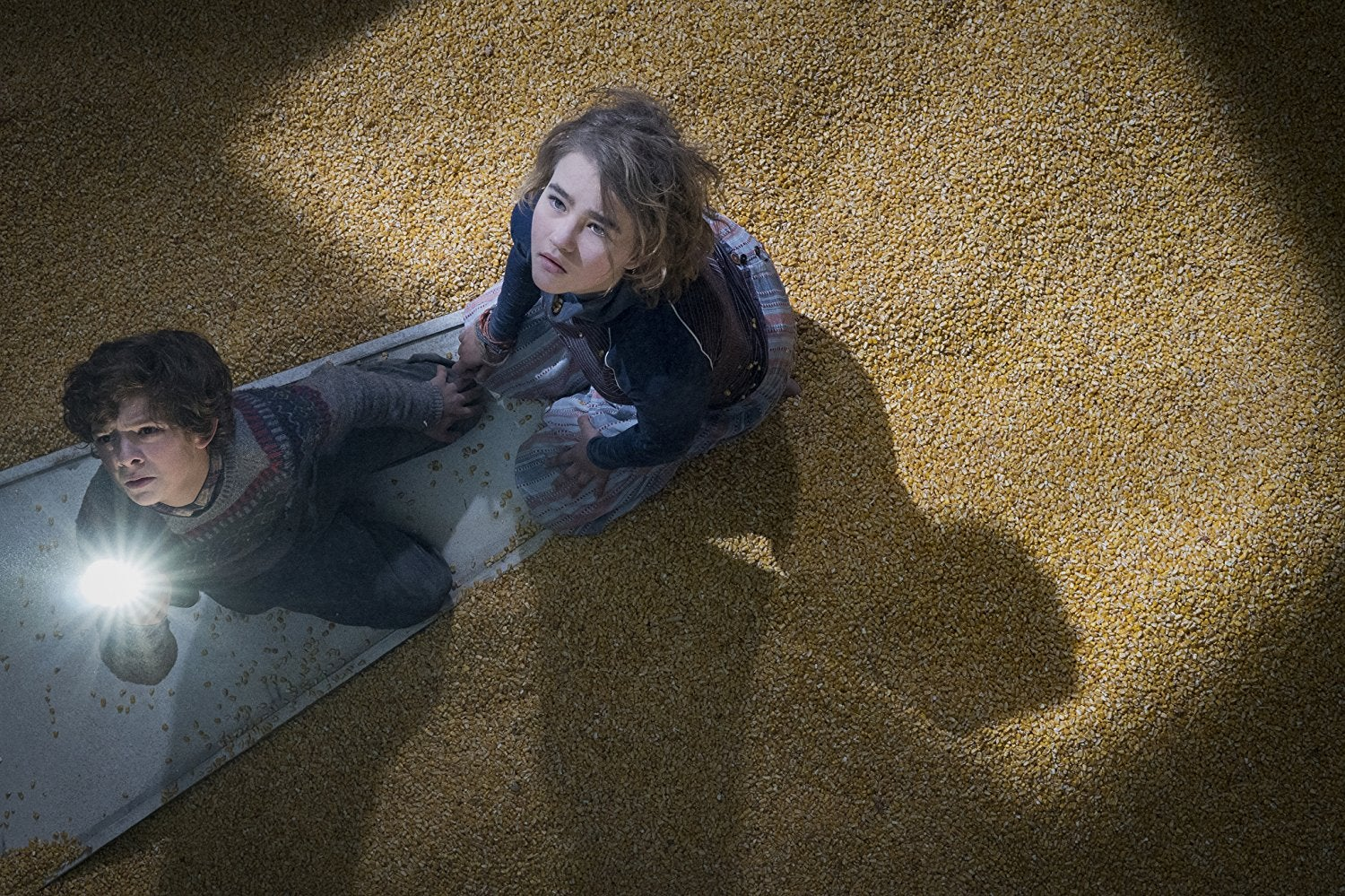 The kids from A Quiet Place (a boy, about 8 years old, and a girl, about 13) sit on a metal door in the middle of a silo full of grain. They look up, scared. The boy brandishes a flashlight.