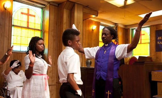 Toni Lysaith as Chazz Morningstar, Jules Brown as Flik Royale, and Clarke Peters as Bishop Enoch Rouse in Spike Lee's Red Hook Summer.