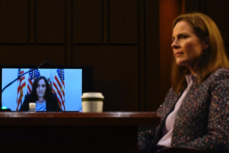 Sen. Kamala Harris on a video screen questioning Supreme Court nominee Amy Coney Barrett.
