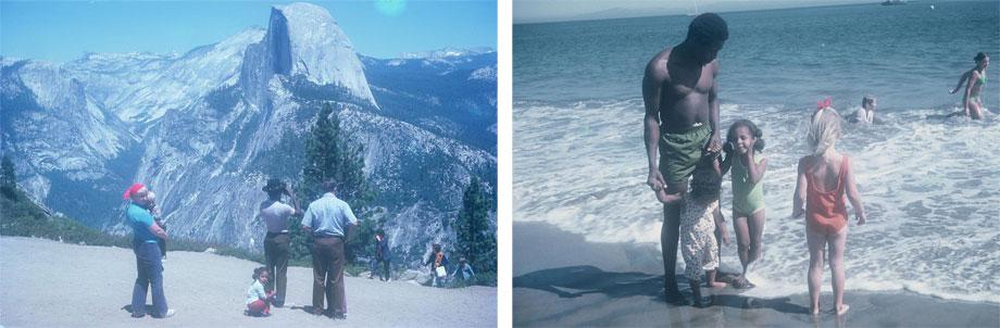 Looking out over Yosemite National Park (l). On the beach.