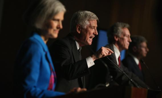 Presidential candidate Rocky Anderson from the Justice Party makes a point as Jill Stein from the Green Party, Constitution Party presidential candidate Virgil Goode, and Gary Johnson from the Libertarian Party look on.