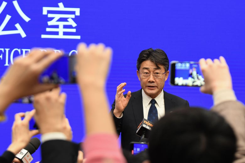 Director of the Chinese Center for Disease Control and Prevention Gao Fu speaks during a State Council Information Office press conference in Beijing on January 26, 2020.