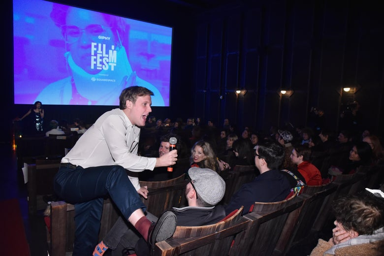 John Early doing crowd work in the audience at the Giphy Film Fest.