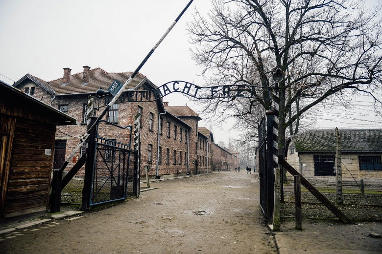A general view of the Auschwitz main gate during the 73rd anniversary of the liberation of the Auschwitz-Birkenau, in Oświęcim.