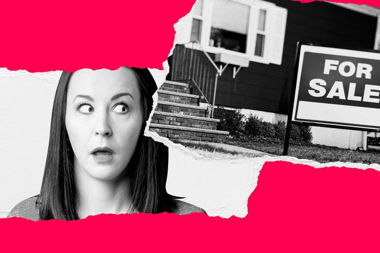 Photo illustration of a woman looking shocked at the for sale sign in front of the house next door.