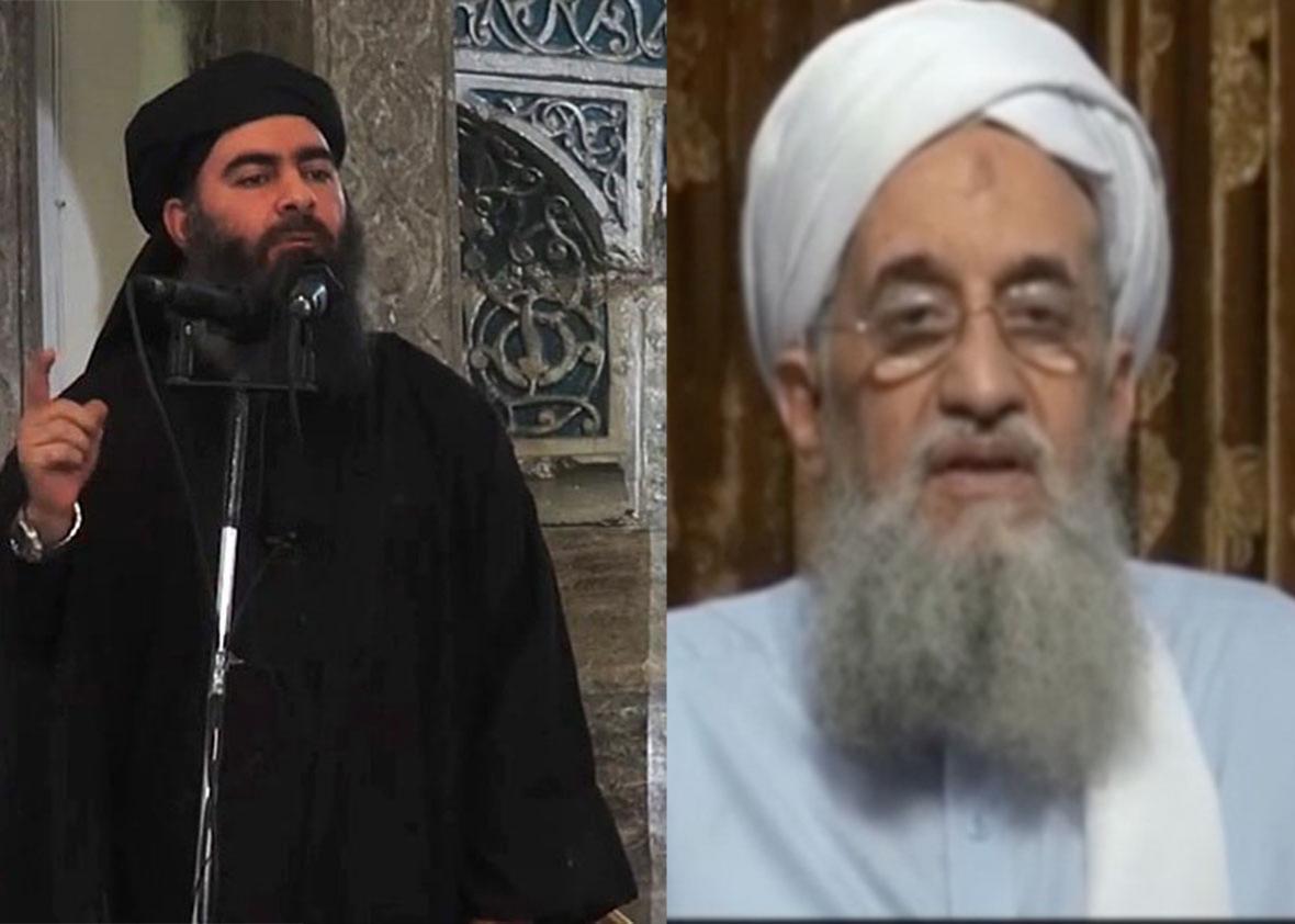 Islamic State head Abu Bakr al-Baghdadi and al-Qaida leader Ayman al-Zawahiri.