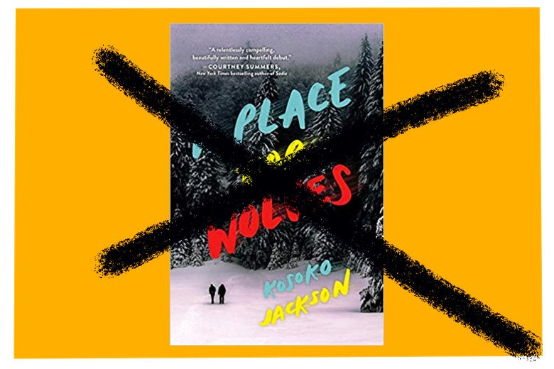 The cover of A Place for Wolves being crossed out.