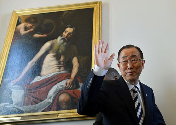U.N. Secretary-General Ban Ki-moon after a press conference during the a climate change conference organized by the Pontifical Academy of Sciences at the Vatican on April 28, 2015