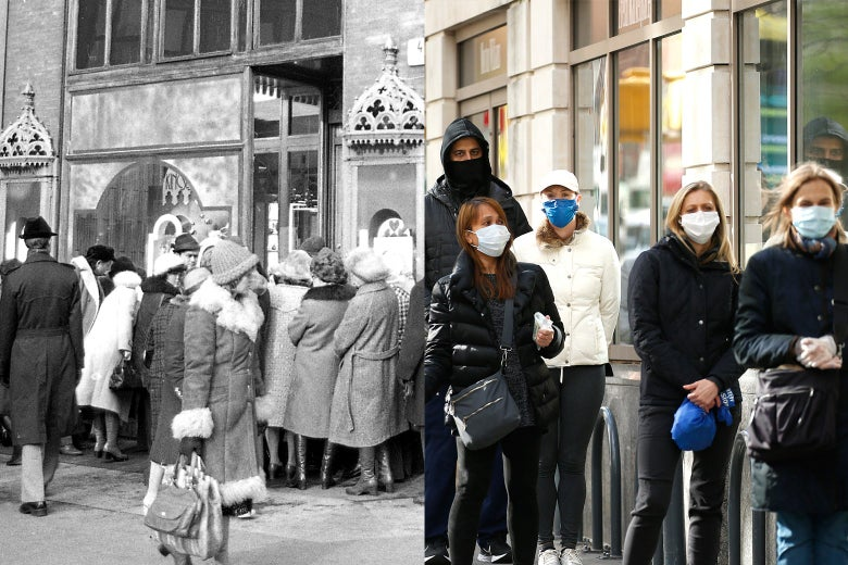 Side-by-side photos of people crowded around the entrance of a market in Hungary in 1979 and people in New York City waiting in line to enter a Trader Joe's.