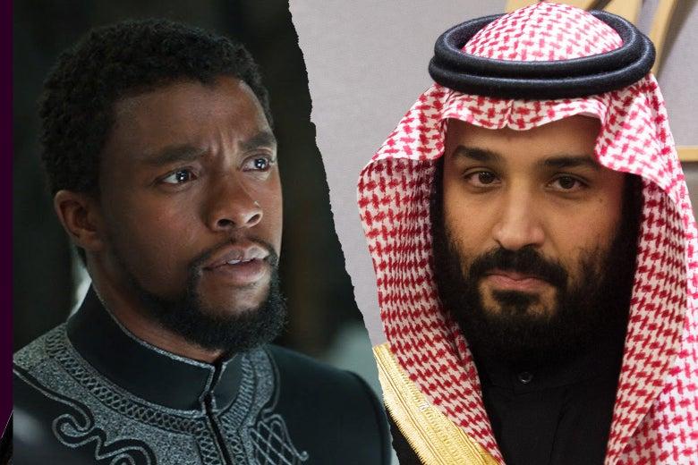 Chadwick as T'Challa in Black Panther and Prince Mohammed bin Salman Al Saud, Crown Prince, Kingdom of Saudi Arabia.