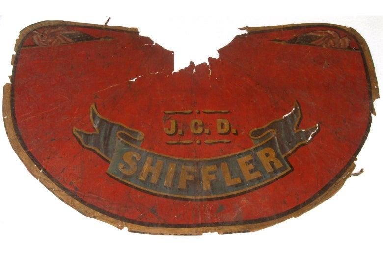 "Nineteenth-century fireman's cape with ""Shiffler"" emblazoned on it."