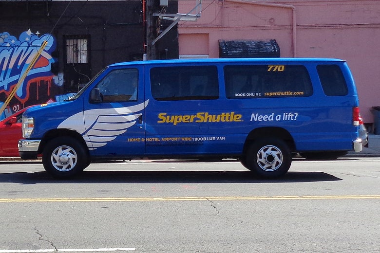 A SuperShuttle van.