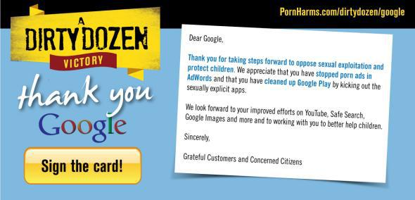 The activist group Morality in Media is asking supporters to thank Google for barring porn sites from its AdWords service.