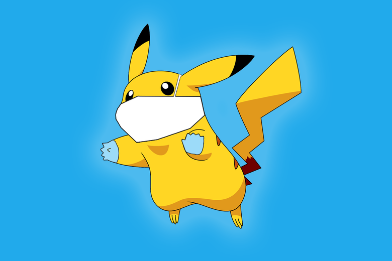 Pikachu leaps forth, wearing a surgical mask and gloves