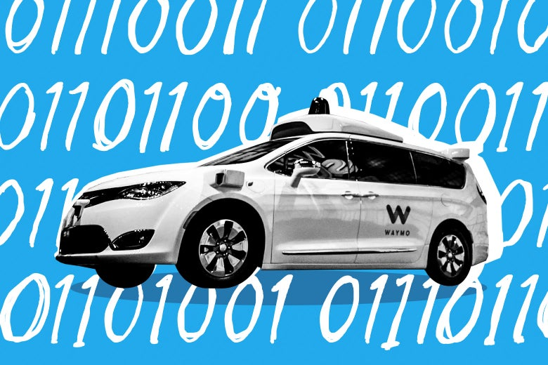 Photo illustration: a Waymo car against an illustrated example of binary.