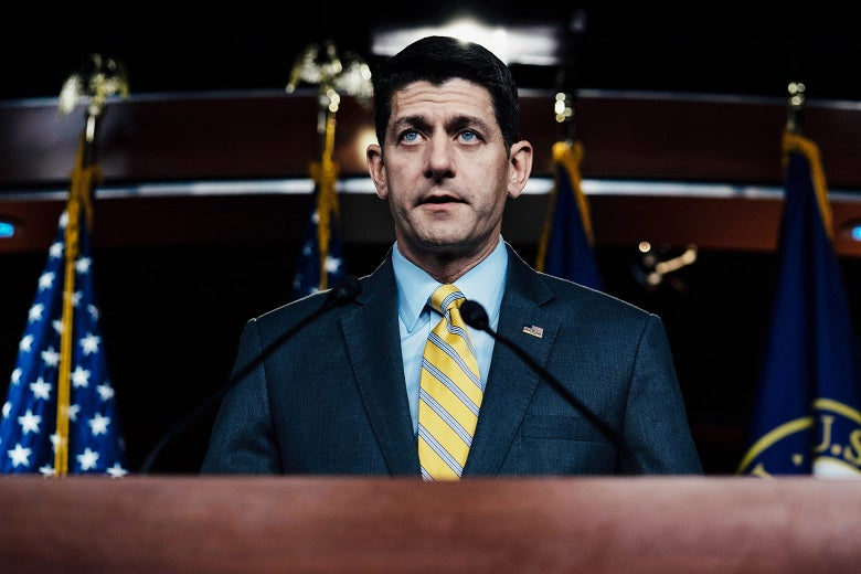 House Speaker Paul Ryan delivers his weekly remarks on Thursday in Washington.