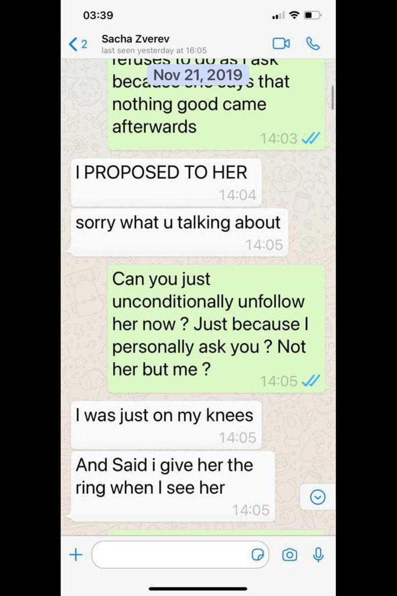 WhatsApp exchange with messages from Zverev saying he proposed to Sharypova