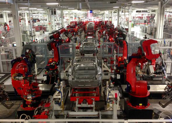 The inside of the Tesla factory in Fremont, CA.