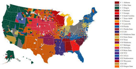 Map Of Texas And Florida.Texas Florida Ohio State Facebook Map Of College Football Fan Bases