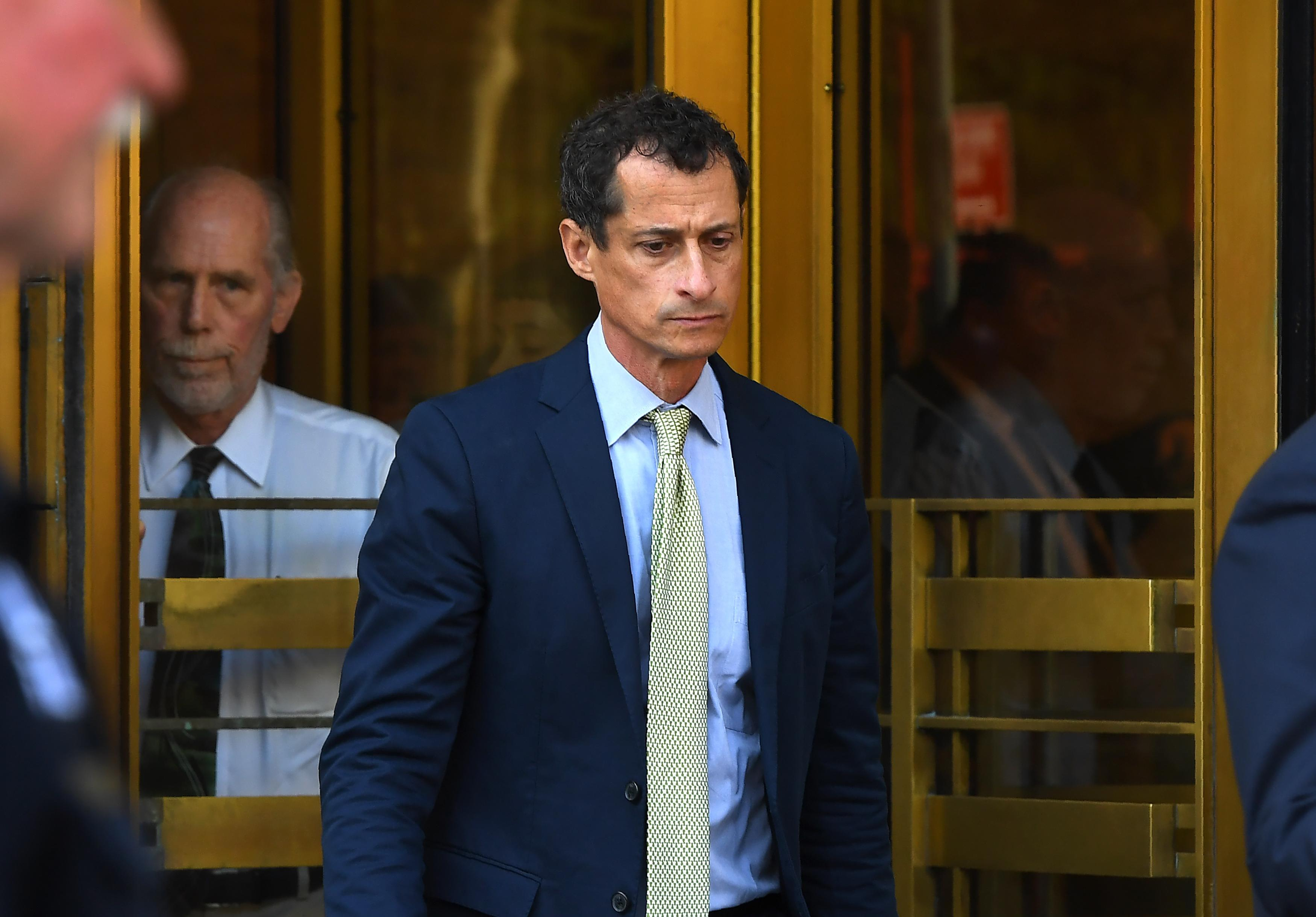 Anthony Weiner leaves Federal Court in New York September 25, 2017 after being sentenced for 21-months for sexting with a 15-year-old girl.