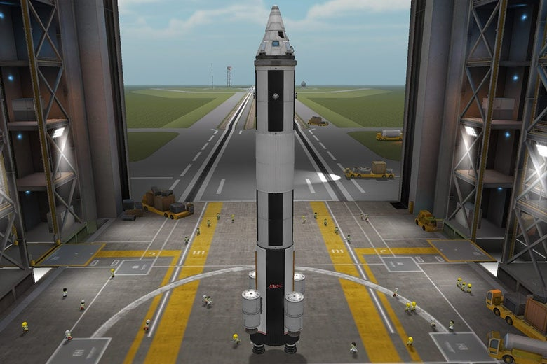 A rocket ship in Kerbal Space Program's shipbuilding simulator. It is shaped like a pencil, with four rocket boosters attached to the bottom.
