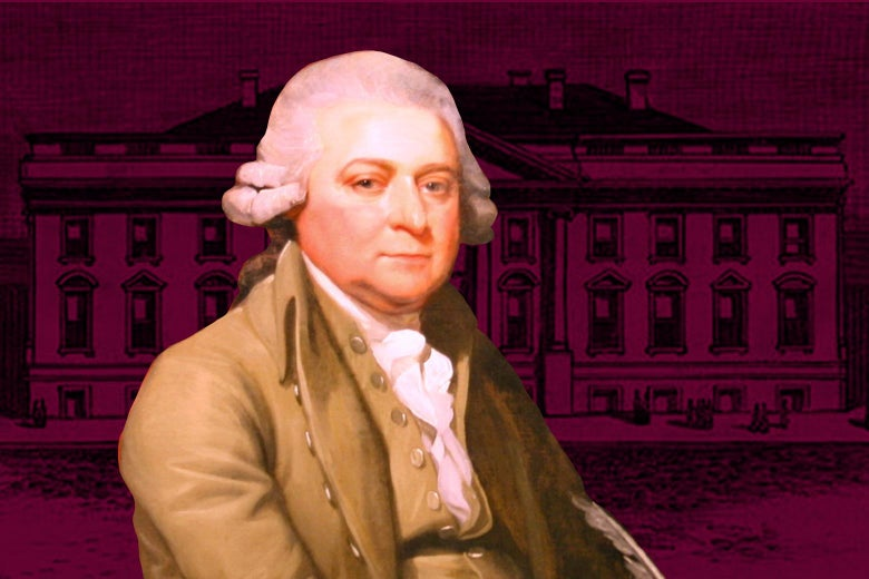 A portrait of John Adams is seen over the original design of the White House in 1800.