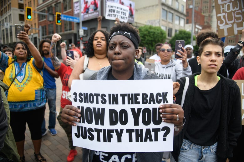 Chantel Wilkerson, 24, of Braddock, Pennsylvania joins a protest a day after the funeral of Antwon Rose II on June 26, 2018 in Pittsburgh, Pennsylvania.