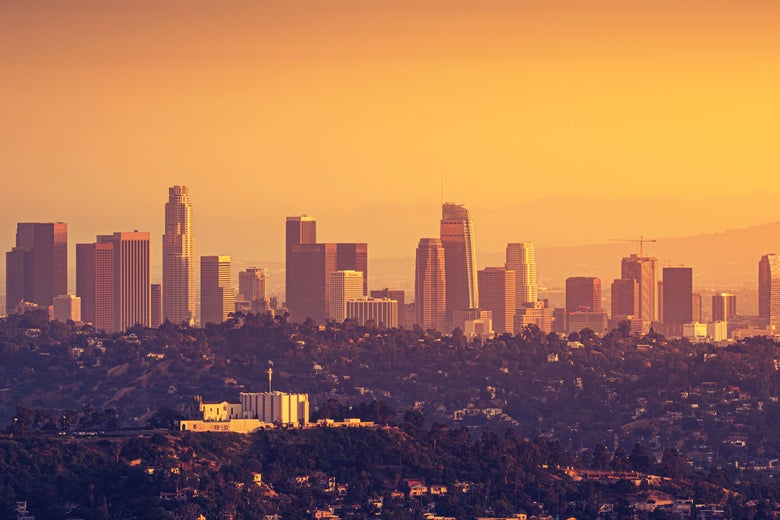 Downtown Los Angeles skyline at sunset.