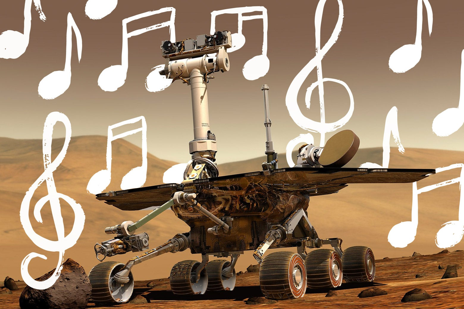 The Mars rover surrounded by musical notes.